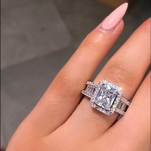 White Cubic Zirconia Sterling Ring